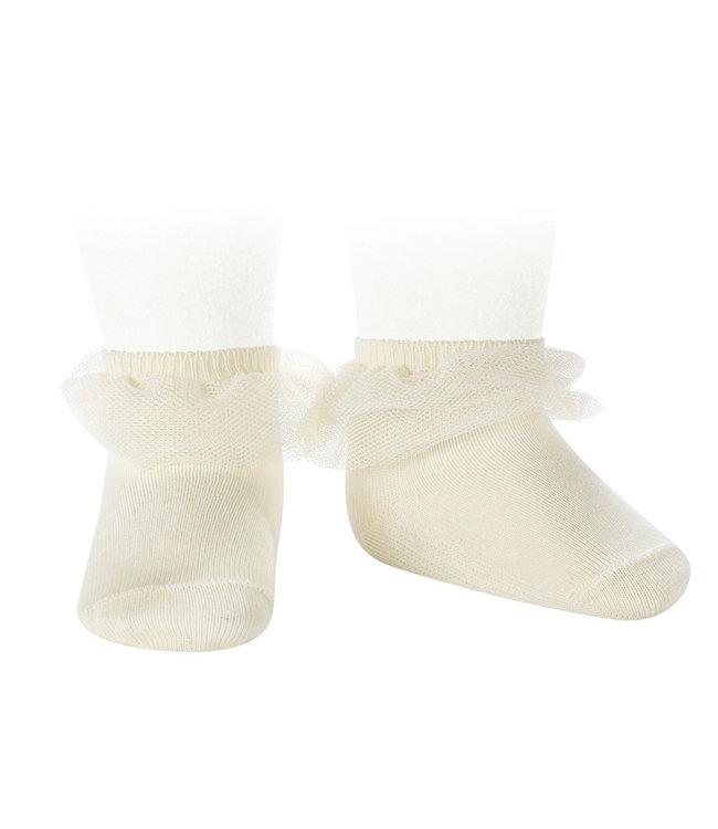CONDOR  CONDOR | Ankle socks with tulle ECRU