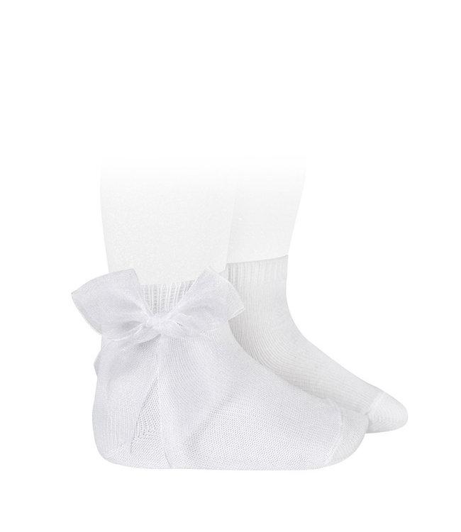 CONDOR  CONDOR   Ankle socks with organza bow WHITE