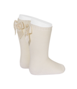 CONDOR  Light knitted knee socks with bow at the back LINNEN