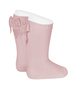 CONDOR  Light knitted knee socks with bow at the back  ROSA PALO