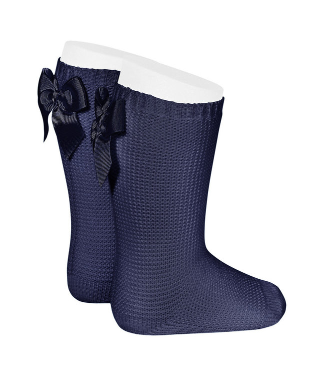 CONDOR  CONDOR | Light knitted knee socks with bow at the back NAVY BLUE