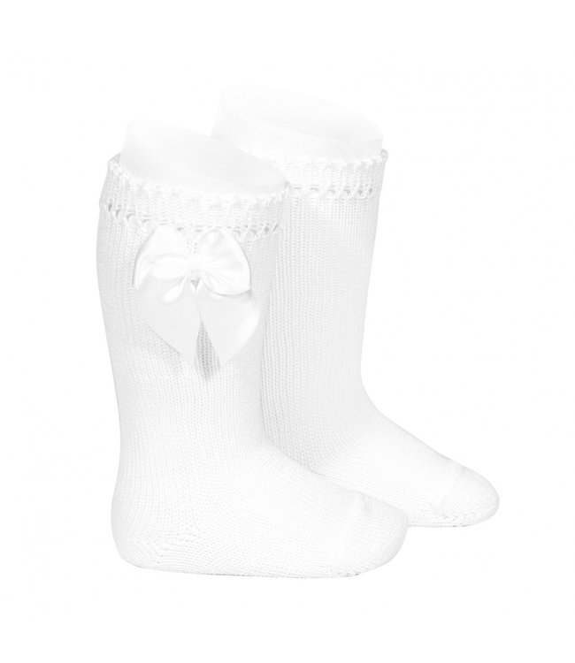 CONDOR  Knee-high with satin bow WHITE
