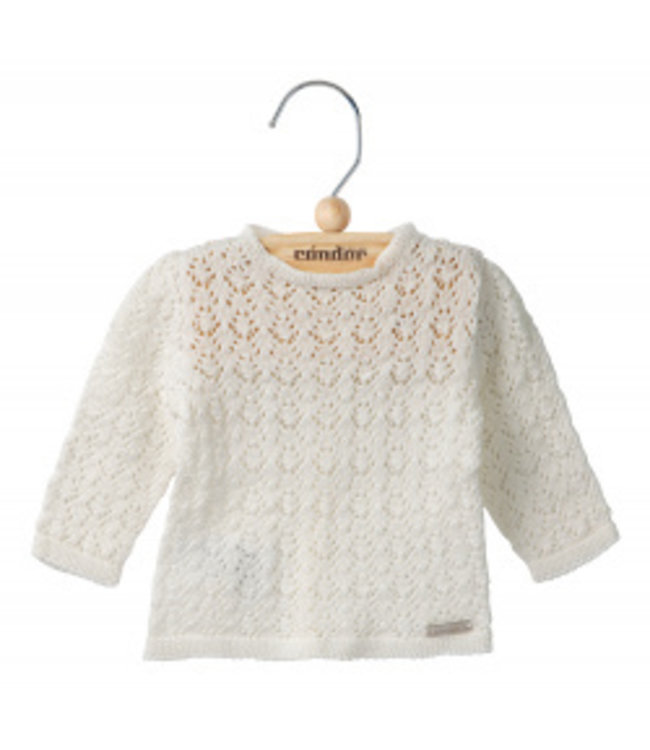 CONDOR  Openwork cardigan with buttons at the back IVORY