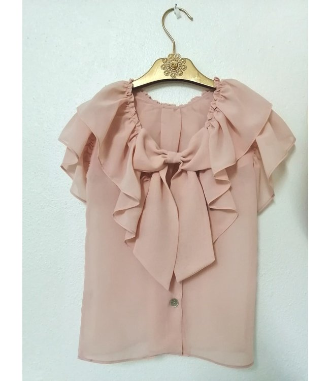 BE CHIC | Pink Chiffon blouse with bow on the back