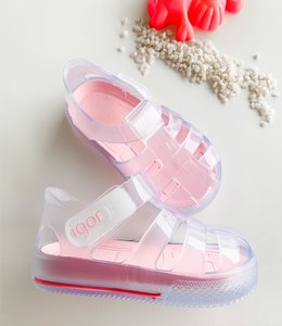 Water sandal transparent with pink sole