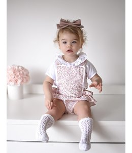 BABIDU Pink romper with fine floral print