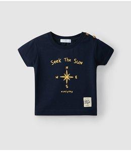 LARANJINHA T-shirt in marineblauw met leuke Kompas print