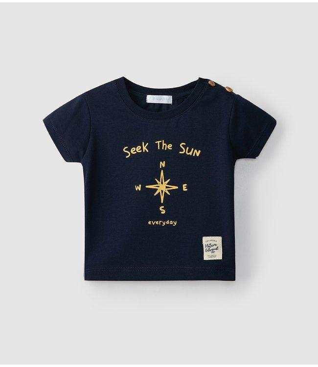 LARANJINHA LARANJINHA   T-shirt in navy blue with nice Compass print