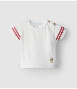 LARANJINHA Witte t-shirt met rode detail op mouwtjes