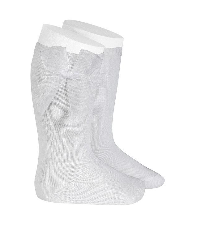 CONDOR  CONDOR   Knee socks with organza bow WHITE