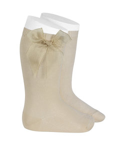 CONDOR  Knee socks with organza bow LINEN