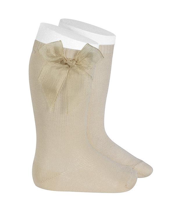 CONDOR  CONDOR | Knee socks with organza bow LINEN