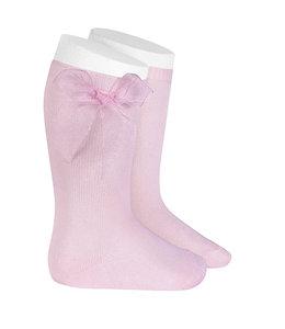 CONDOR  Knee socks with organza bow PINK