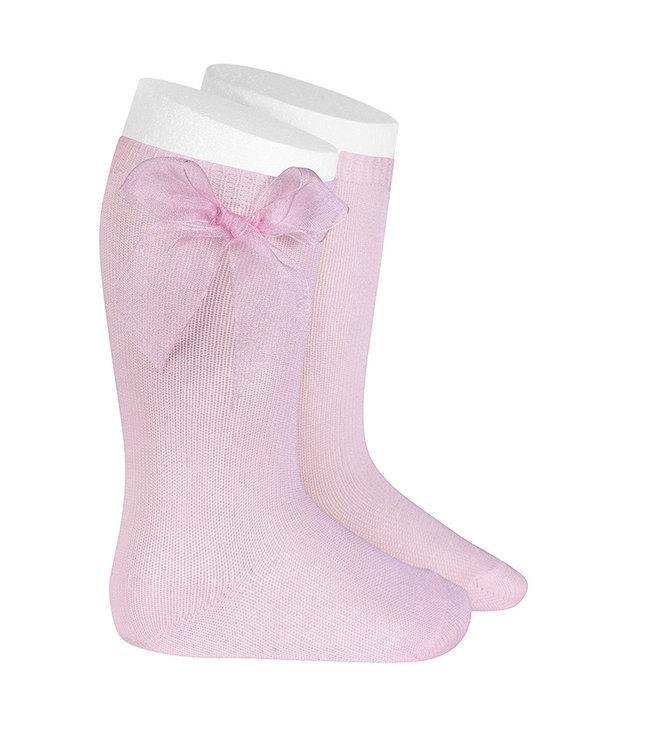 CONDOR  CONDOR | Knee socks with organza bow PINK