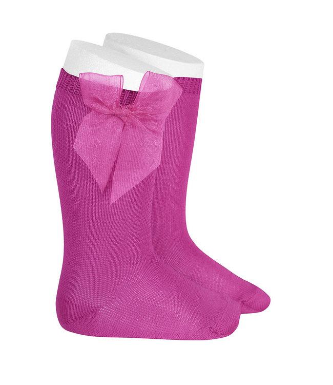 CONDOR  CONDOR | Knee socks with organza bow FUSHIA
