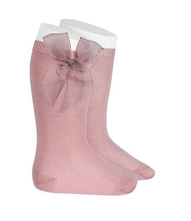 CONDOR  CONDOR   Knee socks with organza bow DUSTY PINK