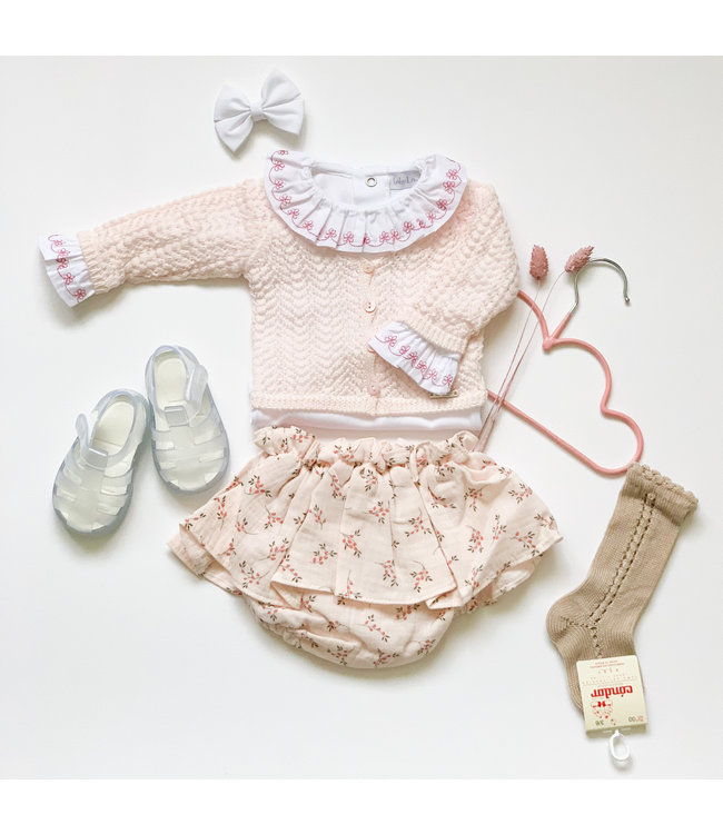 VALENTINA | Light pink linen bloomer with fine floral print