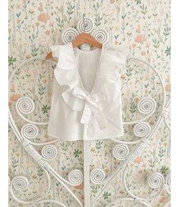Witte blouse met mooie strik op de rug