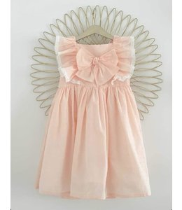 Dress with beautiful bow peachcolor