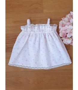 Plumeti blouse met fijne spaghettibandjes en bloemendetail
