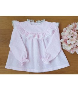Plumeti roze blouse met fijne kant