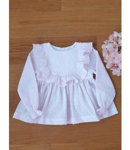 Plumeti roze blouse met fijne afwerking