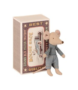 MAILEG Little brother mouse in box checkered shirt