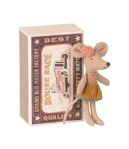 MAILEG Kleine zus muis in doos pastelgeel rokje