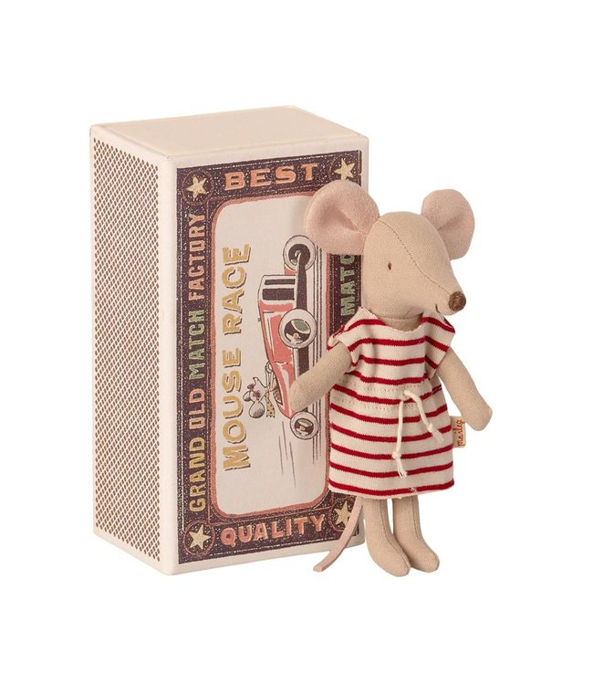 MAILEG MAILEG | Big sister mouse in box with striped dress