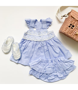 Blue set with lace, inclusive bloomer