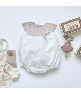MAC ILUSION Cotton romper with knitted top sand