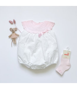 MAC ILUSION Cotton romper with knitted top Pink