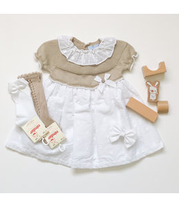 MAC ILUSION Cotton dress with knitted top sand