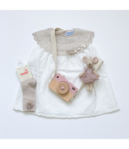MAC ILUSION Cotton dress with knitted toppart Sand