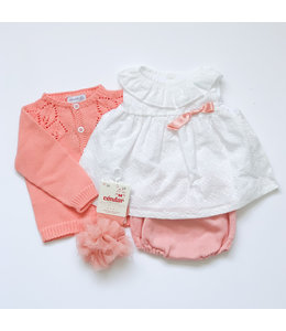 MAC ILUSION Cotton blouse with knitted diaper pants Papaya