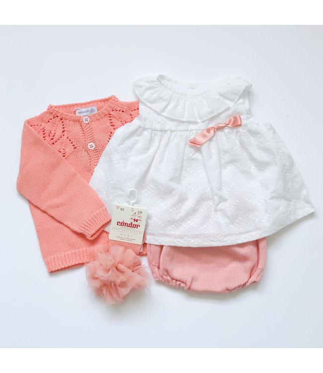 MAC ILUSION MAC ILUSION | Cotton blouse with knitted diaper pants Papaya