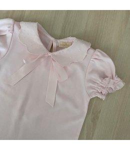 LAIVICAR WHITE top with beautiful peterpan collar and satin ribbon