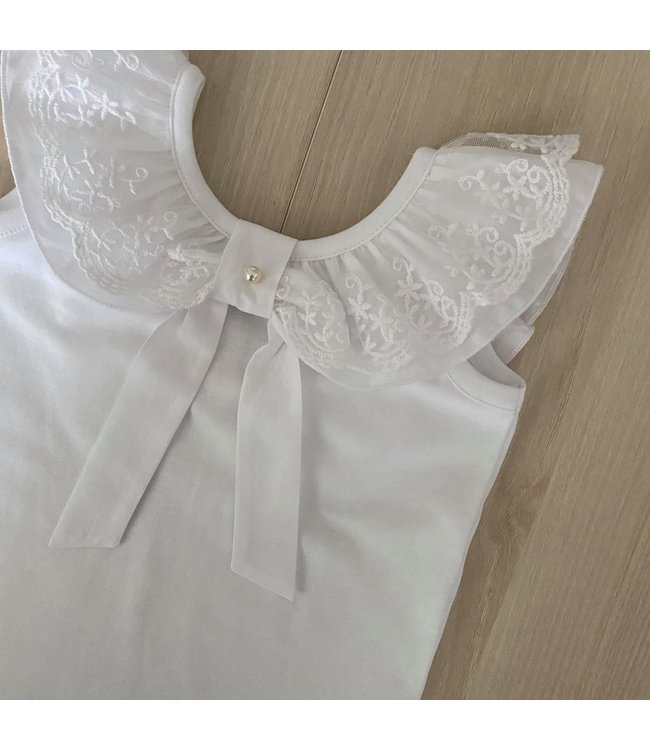 LAIVICAR Top with bow and pearl and a cut-out back