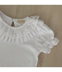 LAIVICAR Witte body met plisé en kanten kraagje