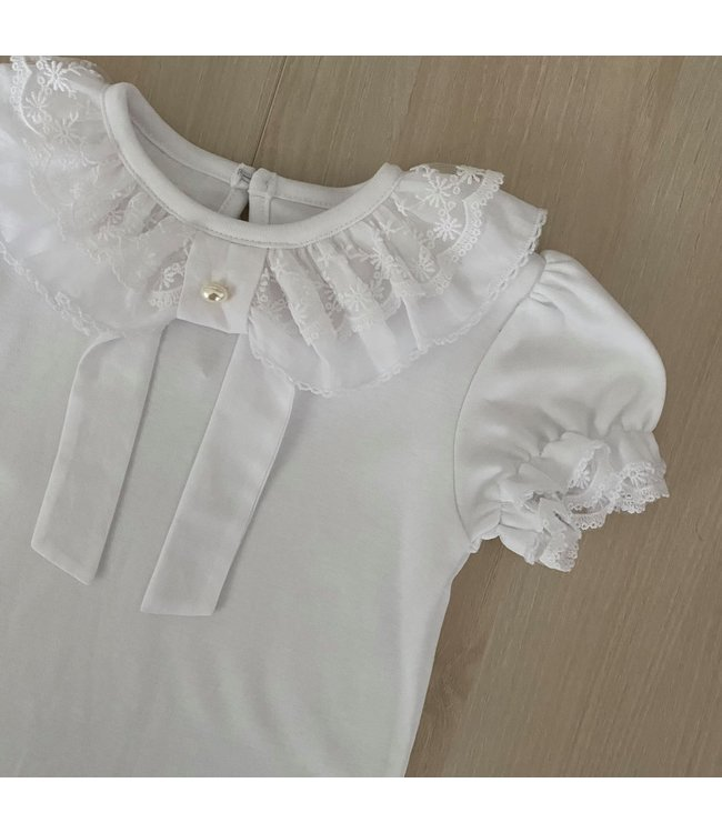 LAIVICAR Top with lace collar and elegant bow with pearl
