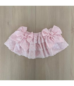 Pink vichy tiered bloomer with lace and two bows