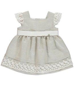 PURETE DU BEBE Linen sand-colored dress with dazzling lace details