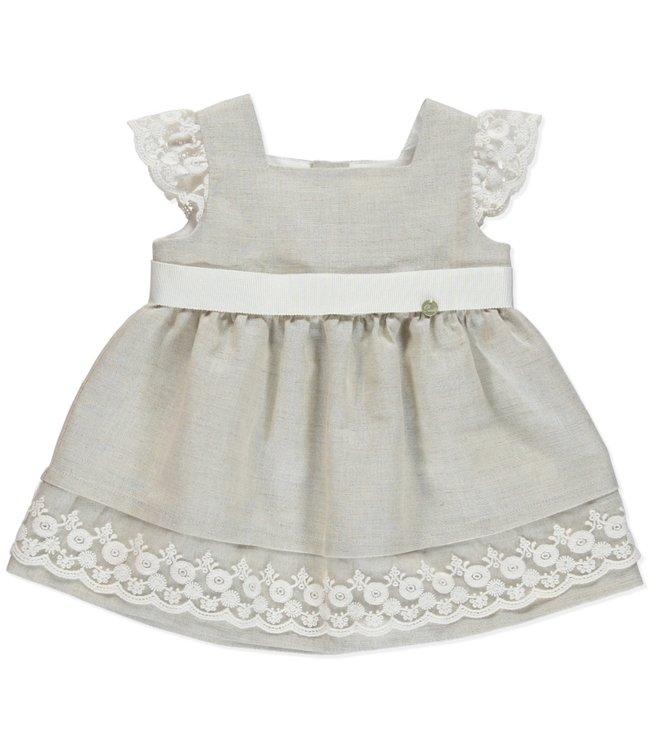 PURETE DU BEBE PURETE | Linen sand-colored dress with dazzling lace details
