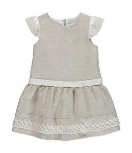PURETE DU BEBE A-line linen dress with dazzling lace details