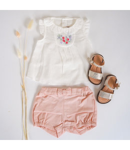 PURETE DU BEBE Nice white blouse with rose embroidery