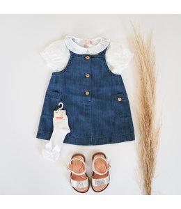 PURETE DU BEBE Jeansblauw Kleedje met houten knoopjes