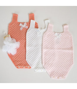 MAC ILUSION Light knitted romper with bow Papaya