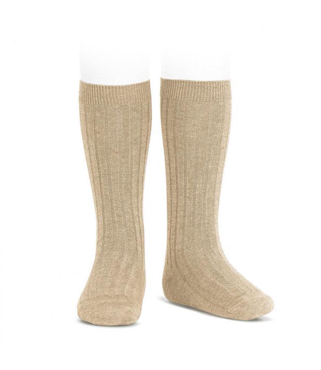CONDOR  Ribbed knee socks Linnen