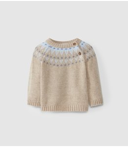LARANJINHA Sweater Pieter Beige-Blauw