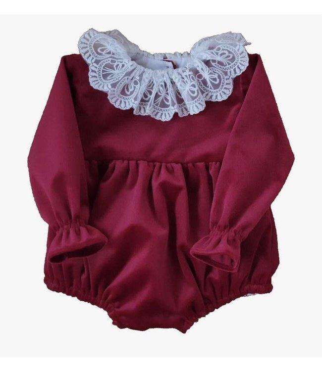 Velvet bodysuit Alice - BORDEAUX